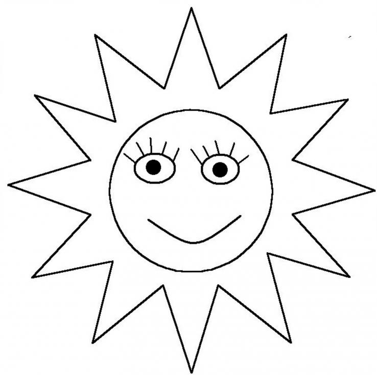 Coloriage Soleil visage à imprimer