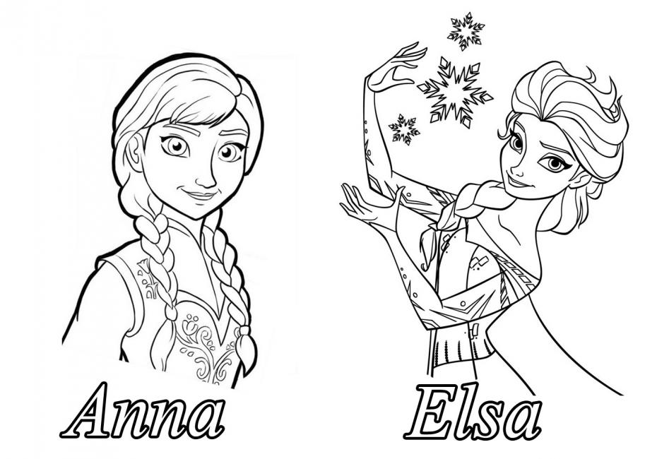 Coloriage Anna et Elsa Disney à imprimer