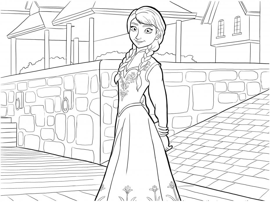 Coloriage Anna dans la reine des neiges à imprimer
