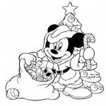 Coloriage Mickey père noël