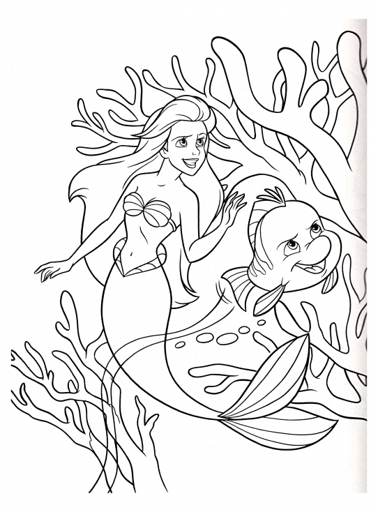 Coloriage La petit sirène Disney à imprimer