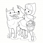 Coloriage Petit chaperon rouge et le loup