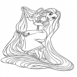 Raiponce longs cheveux dessin à colorier