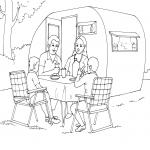 Coloriage Famille en camping