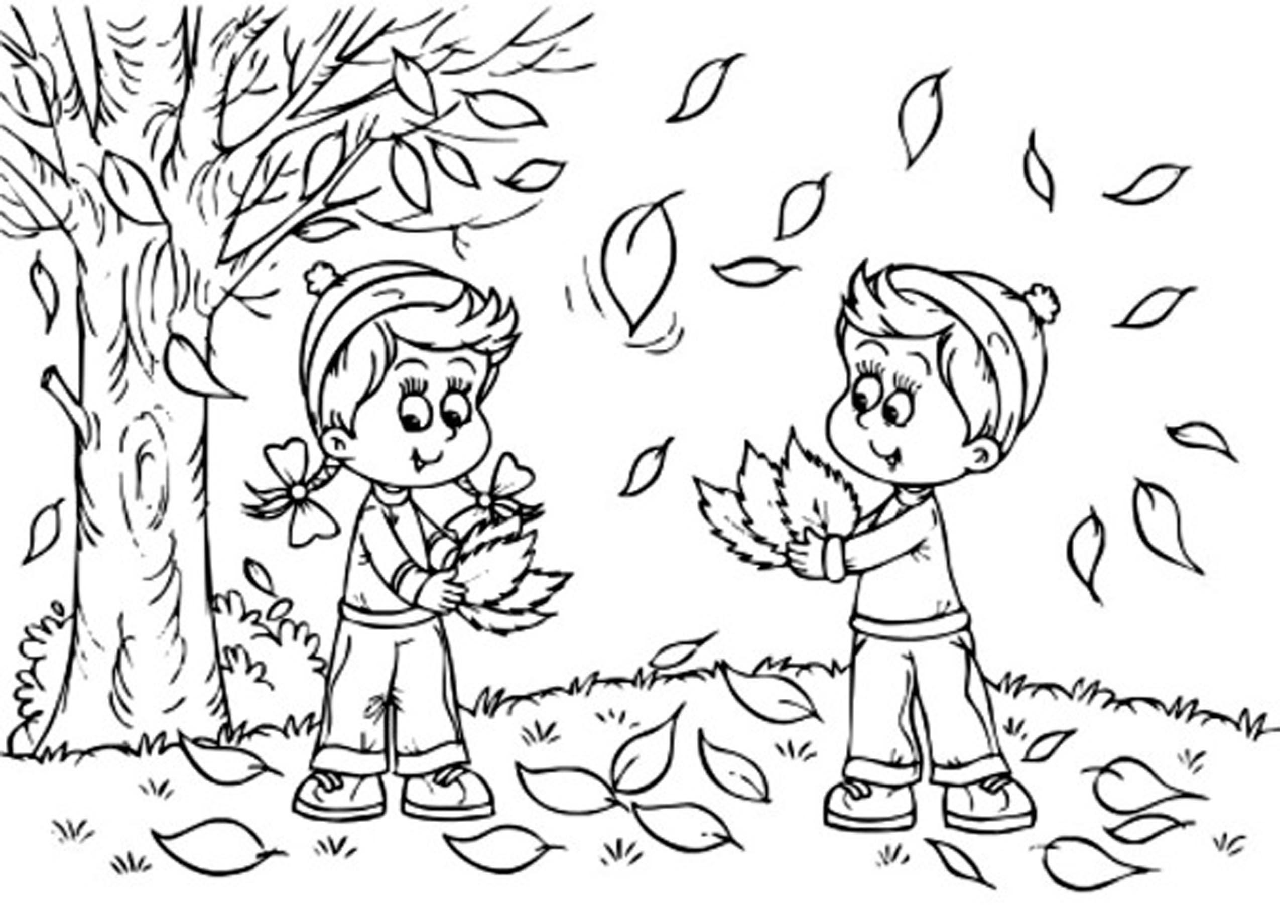 Coloriage Automne enfants à imprimer sur COLORIAGES .info