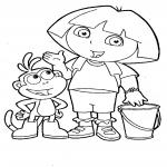 Coloriage Dora et babouche