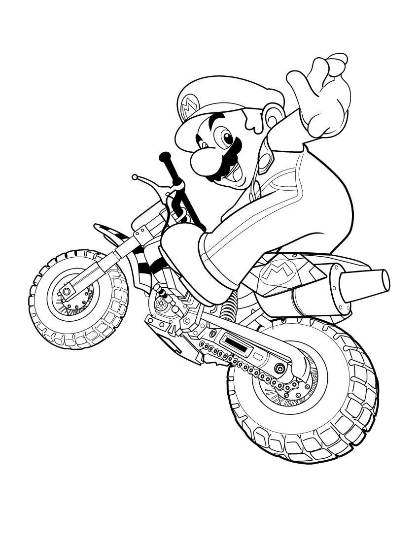 Coloriage Mario moto à imprimer sur COLORIAGES .info