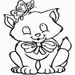 Coloriage Chat avec un papillon