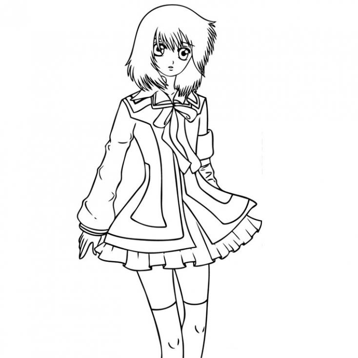 Coloriage Manga fille à imprimer