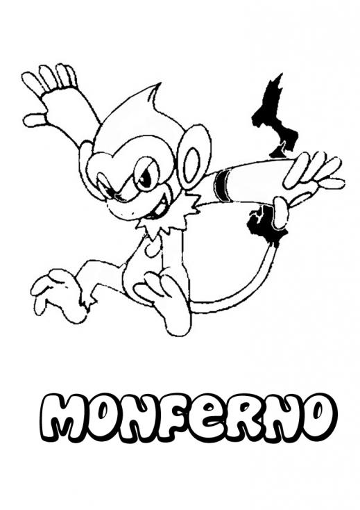 Coloriage Monferno Pokemon à imprimer