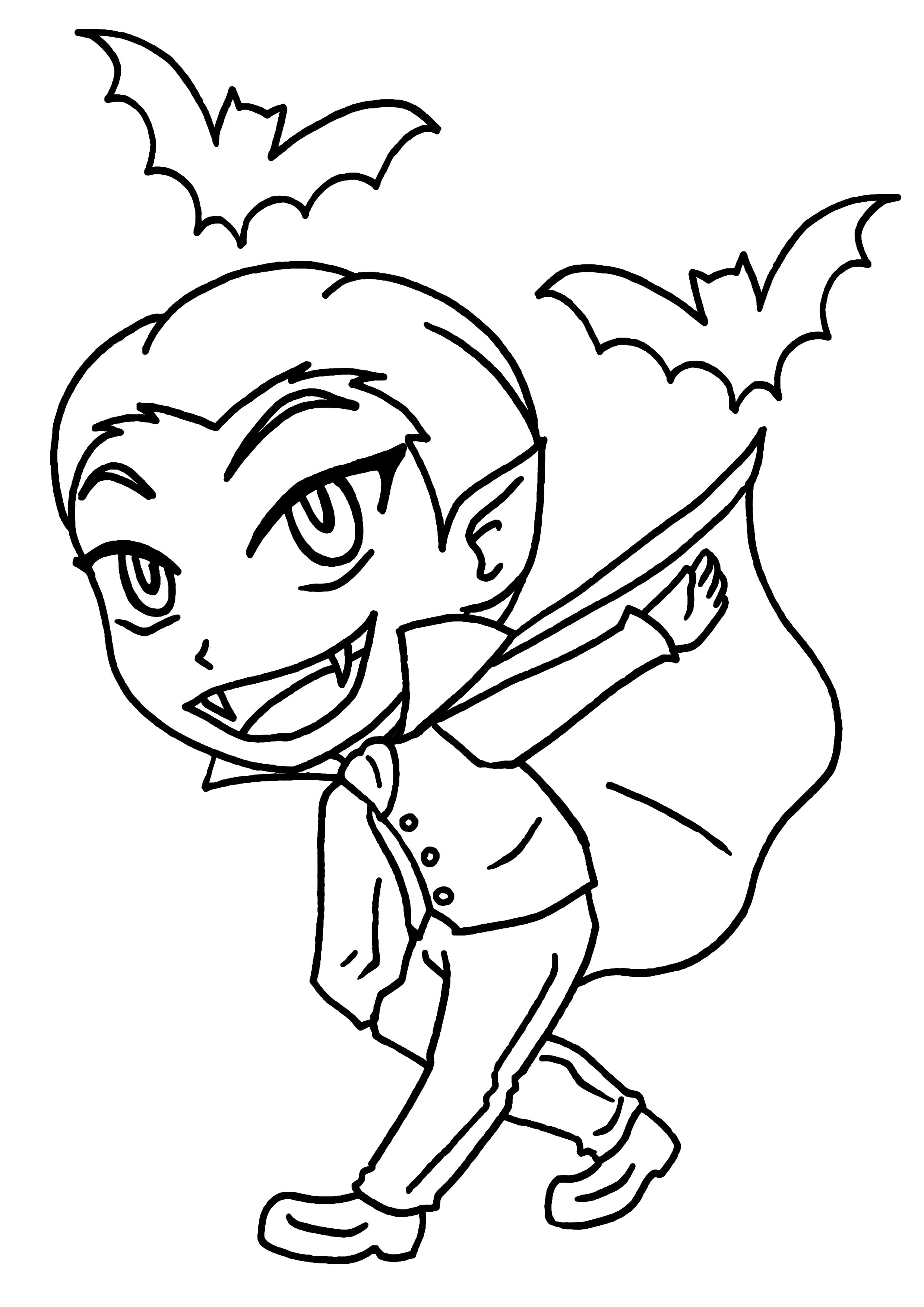 Coloriage Petit garçon vampire à imprimer sur COLORIAGES .info