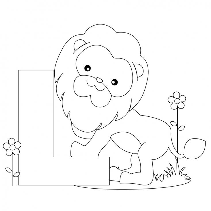 Coloriage Lettre l comme Lion à imprimer