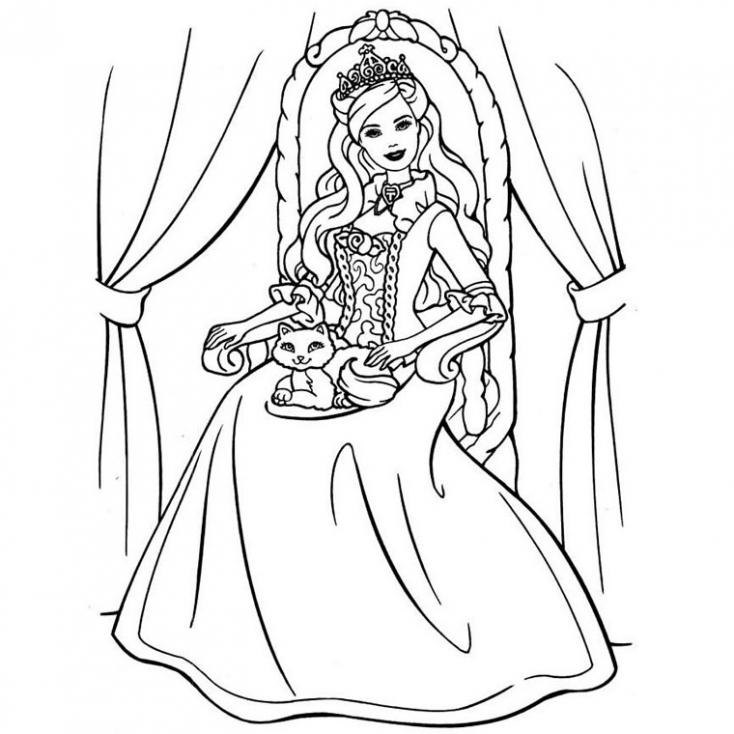 Coloriage Fille princesse à imprimer
