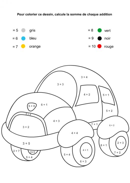 Coloriage Magique voiture à imprimer