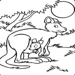 Coloriage Kangourou et son enfant