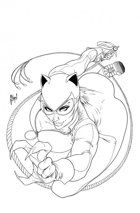 Coloriage Catwoman super-héros à imprimer