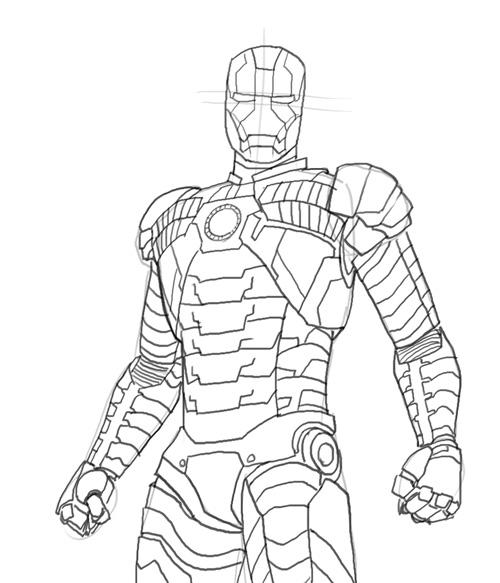 Coloriage Iron Man costume à imprimer sur COLORIAGES .info