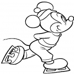Coloriage Mickey patins à glace