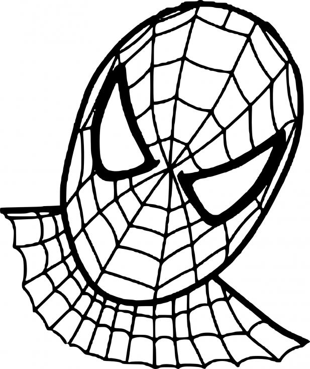 Coloriage Visage Spiderman à imprimer
