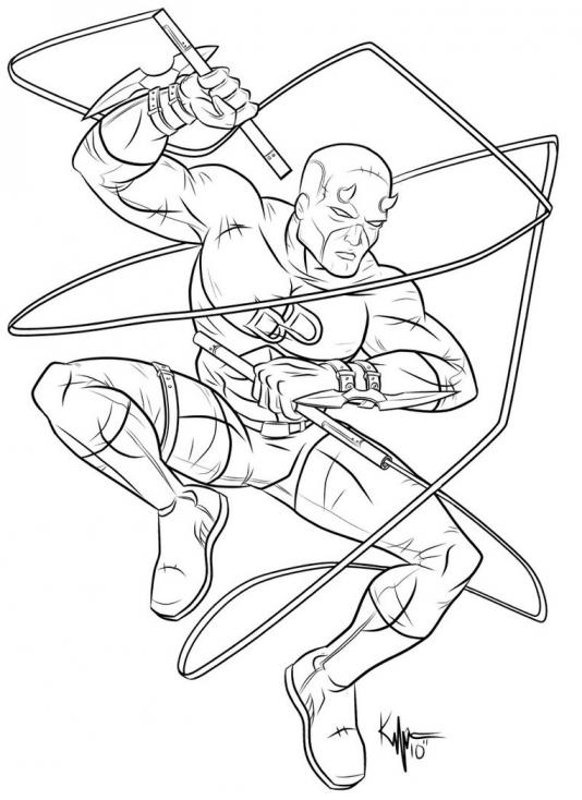 Coloriage Daredevil super-héros à imprimer