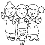 La famille de Tchoupi dessin à colorier