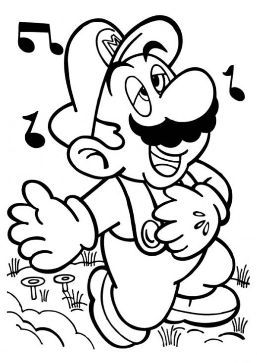 Coloriage Mario chante à imprimer