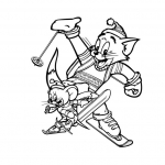 Coloriage Tom et Jerry au Ski
