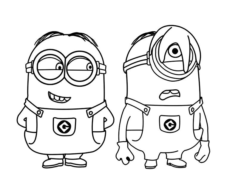 Coloriage Les minions dessin animé à imprimer