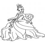 La princesse et la grenouille dessin à colorier