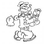 Coloriage Popeye et ses enfants