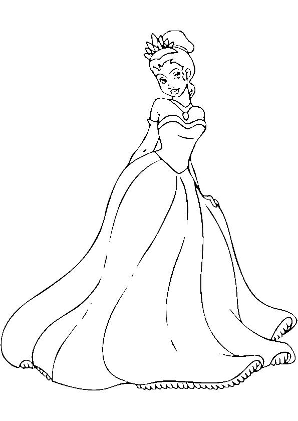 Coloriage Princesse Tiana à imprimer sur COLORIAGES .info