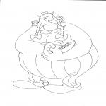 Coloriage Obelix avec un ballon
