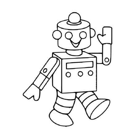 Coloriage Petit robot à imprimer