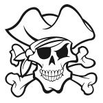 Coloriage Tete de mort pirate