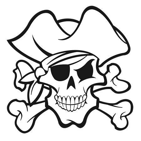 Coloriage Tete de mort pirate à imprimer