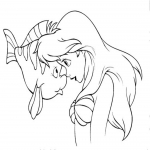 Coloriage Ariel et polochon