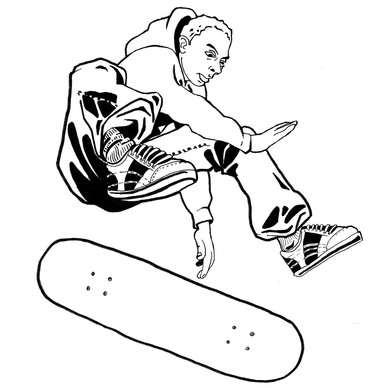 Coloriage de skateboard imprimer sur coloriages info - Dessin skateboard ...