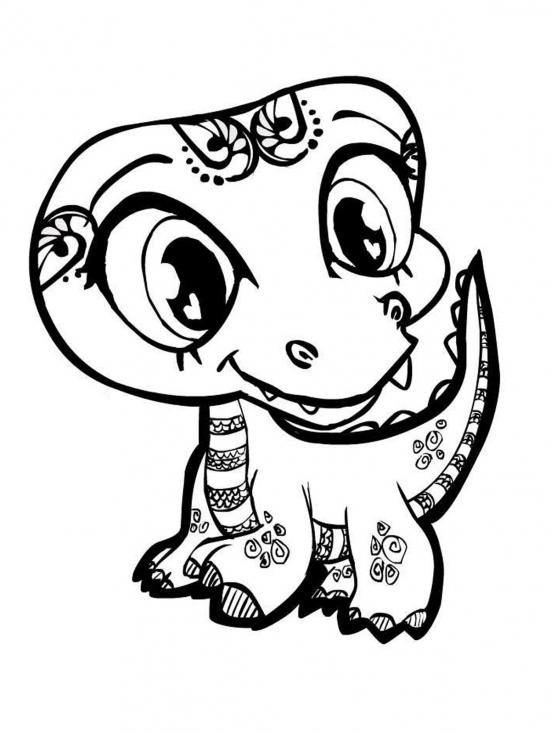 Coloriage Dinosaure mignon à imprimer
