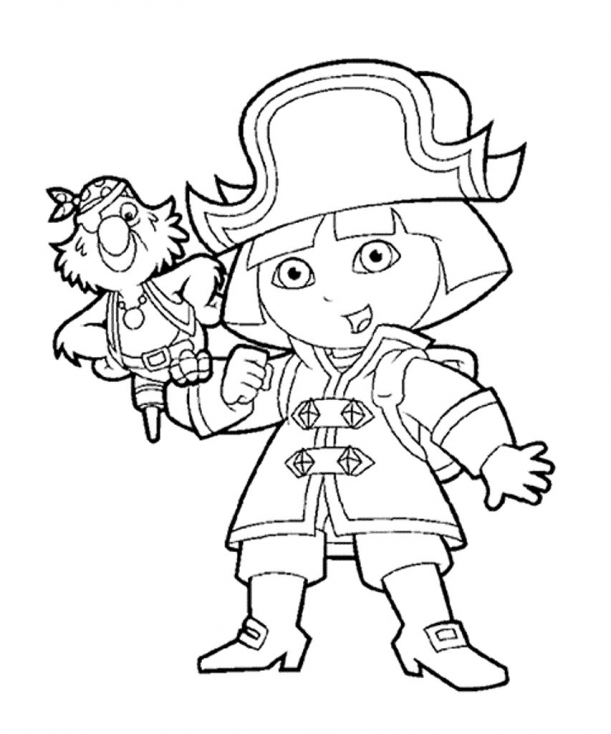 Coloriage Dora la pirate à imprimer