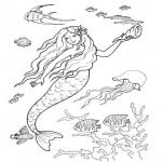 Coloriage Sirene dans l'eau