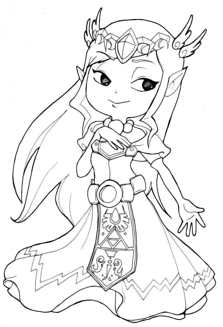 Coloriage Princesse Zelda Gratuit A Imprimer Sur Coloriages Info