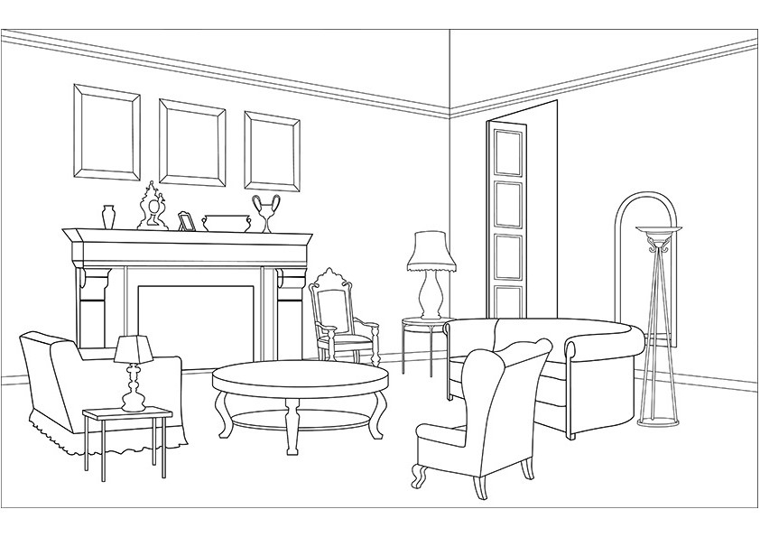 coloriage salon dessin imprimer sur coloriages info. Black Bedroom Furniture Sets. Home Design Ideas