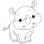 Coloriage Bébé Rhinocéros