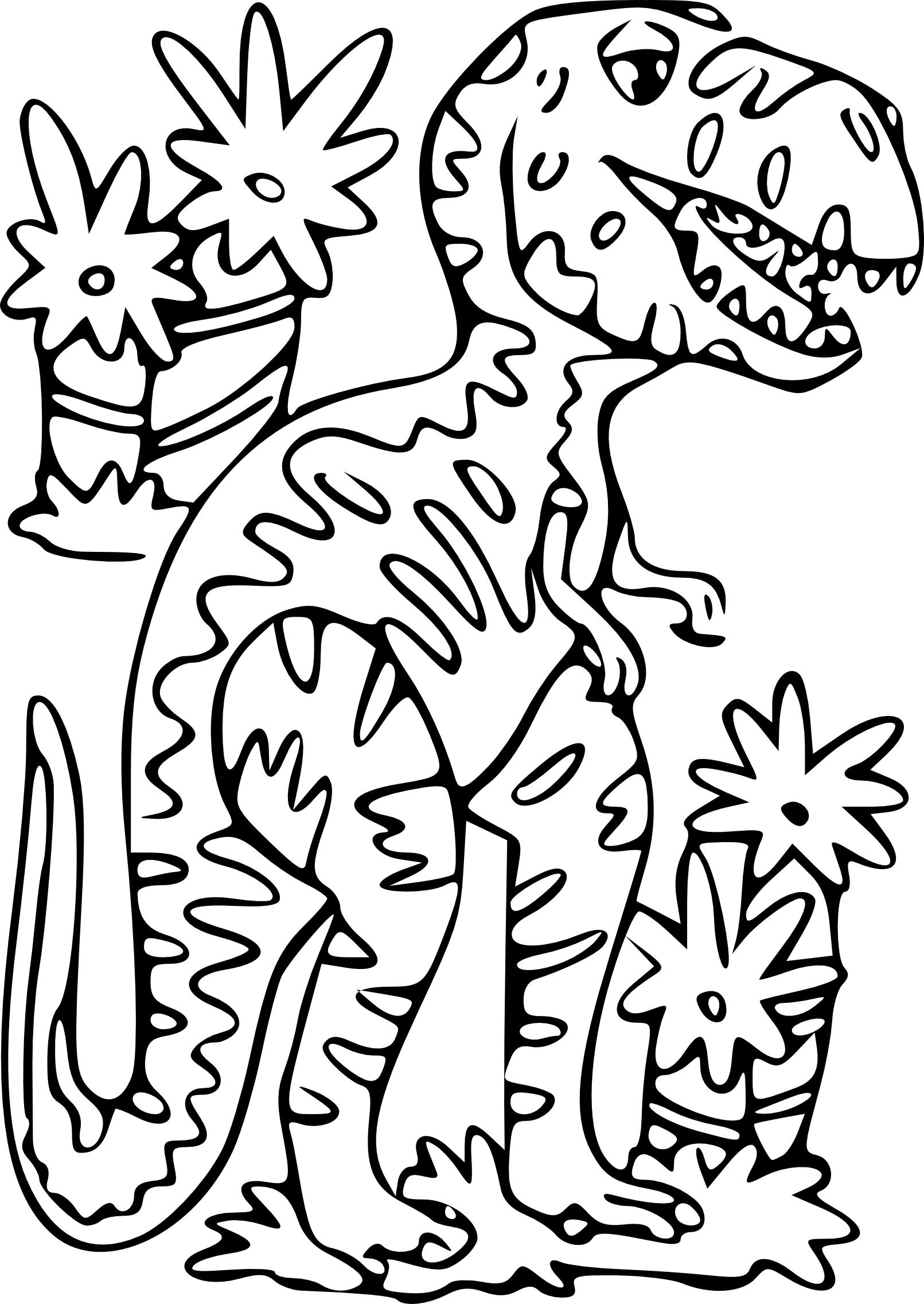 Coloriage Dinosaure T-Rex à imprimer sur COLORIAGES .info