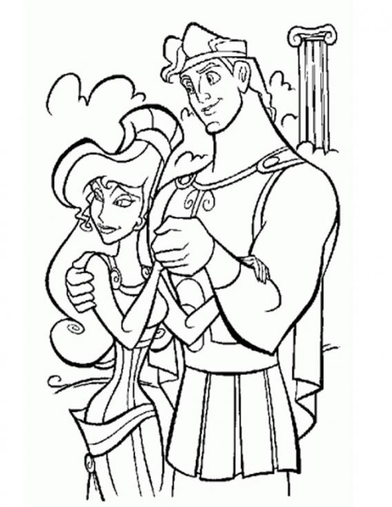 Coloriage Hercule et Megara à imprimer