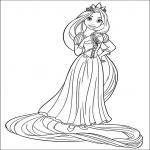 Princesse Raiponce disney dessin à colorier