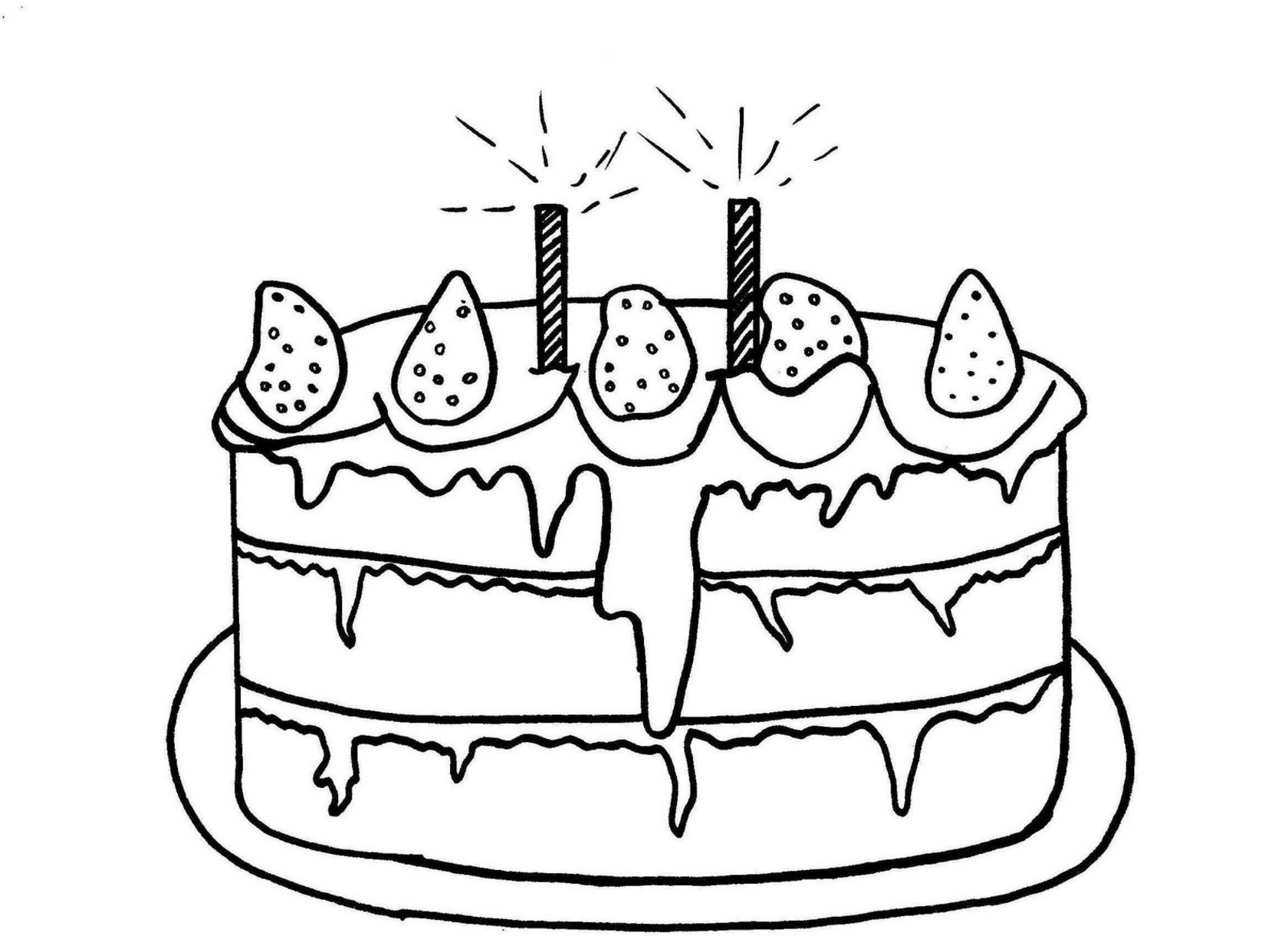 Coloriage Gâteau anniversaire dessin à imprimer sur ...