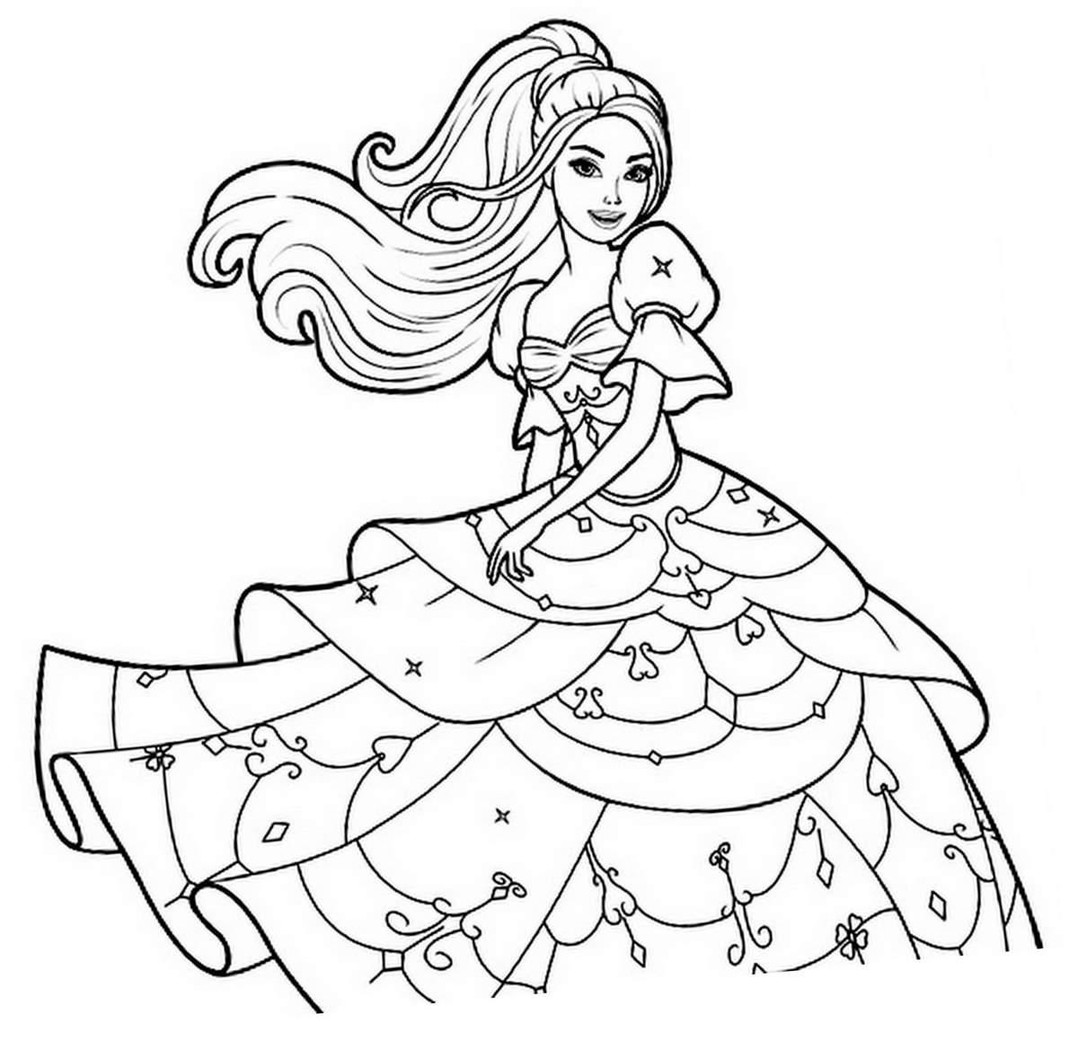 Coloriage Princesse Barbie Avec Une Robe A Imprimer Sur Coloriages