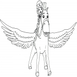 Coloriage Princesse Sofia et cheval volant
