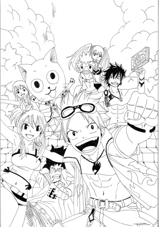 Coloriage fairy tail manga imprimer sur coloriages info - Dessin anime de fairy tail ...